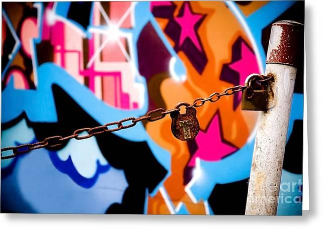 Teen Graffiti Greeting Cards - Graffiti padlock Greeting Card by Richard Thomas