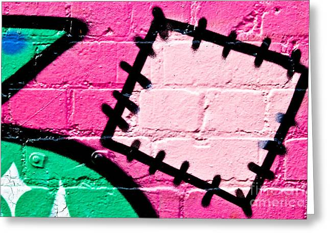 Aerosol Paintings Greeting Cards - Graffiti Patch Closeup Greeting Card by Yurix Sardinelly