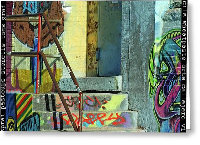 Graffiti Steps Wall Art Greeting Card by adSpice Studios