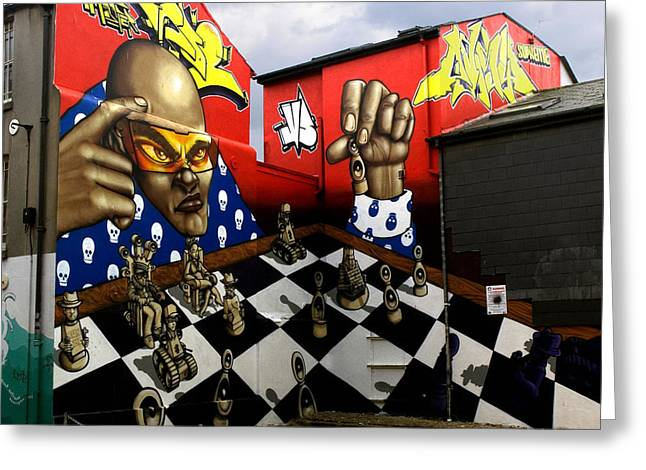 Defiance Greeting Cards - Graffiti. The Chess Player. Greeting Card by Mike Lester