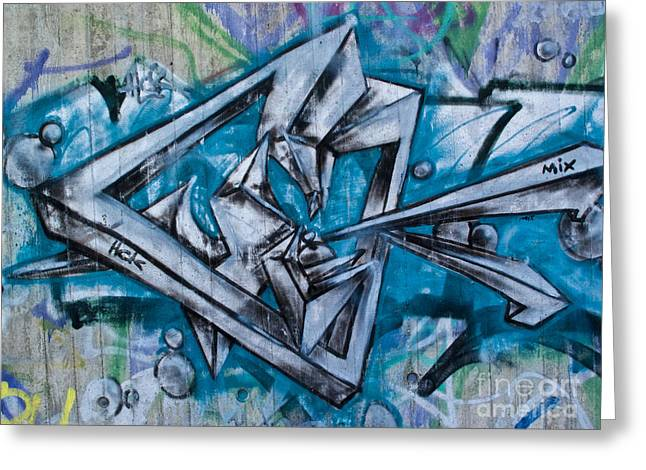 Deutschland Greeting Cards - Graffito Art in blue Greeting Card by Heiko Koehrer-Wagner