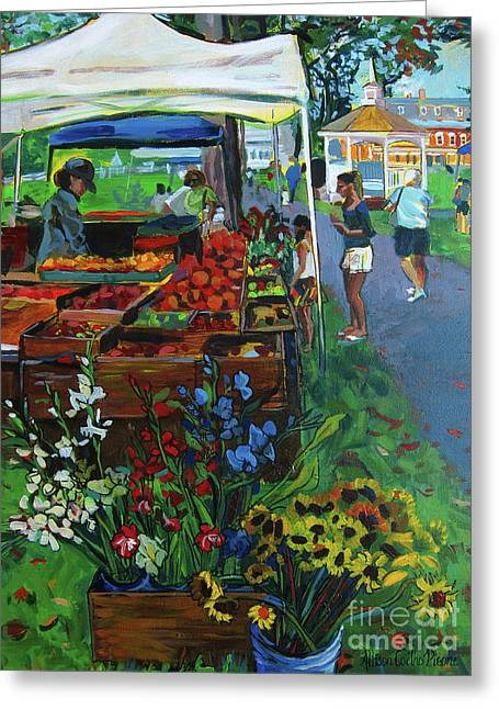 Locally Grown Greeting Cards - Grafton Farmers Market Greeting Card by Allison Coelho Picone