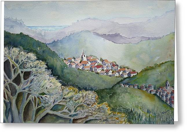Provence Village Greeting Cards - Grahams View of the Mediterranean Greeting Card by Alice Kayuha
