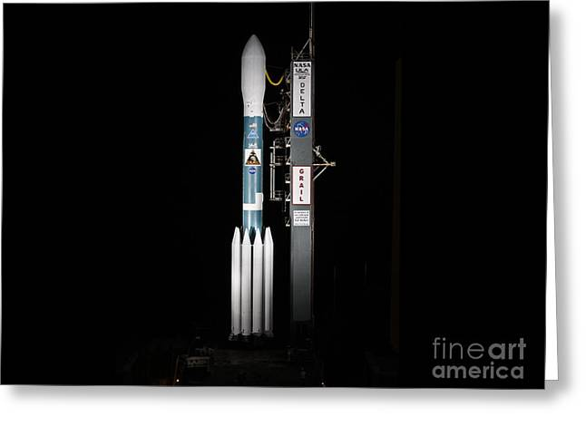 Nasa Space Program Greeting Cards - Grail Spacecraft On Launch Pad Greeting Card by NASA/Science Source