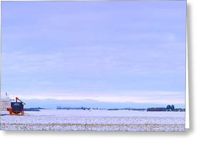 Canadian Prairie Landscape Greeting Cards - Grain Elevator In Early Winter Field Greeting Card by Corey Hochachka