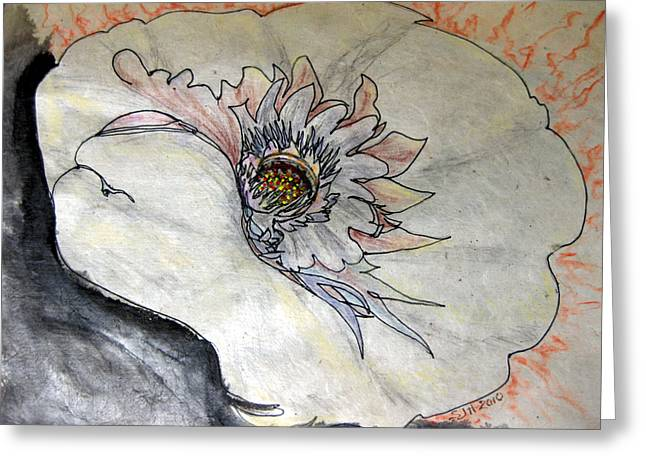 Pen And Ink Drawing Pastels Greeting Cards - Grain of Fire Greeting Card by Sarah Hornsby