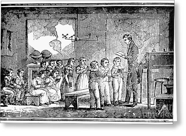 School Houses Greeting Cards - GRAMMAR SCHOOL, 1790s Greeting Card by Granger