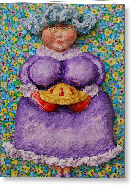 Chubbyart Reliefs Greeting Cards - Grammas Cherry Pie Greeting Card by Alison  Galvan