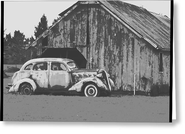 Barn Digital Art Greeting Cards - Gramps Car Greeting Card by Dale Stillman