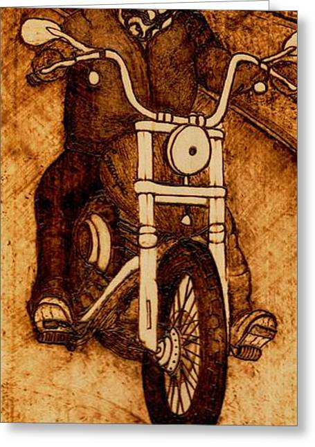 Motorcycles Pyrography Greeting Cards - Gramps Last Ride Greeting Card by TK Mayfield