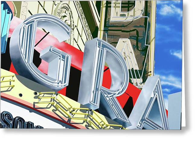 Some Like It Hot Greeting Cards - Granada Theater Greeting Card by Anthony Ross