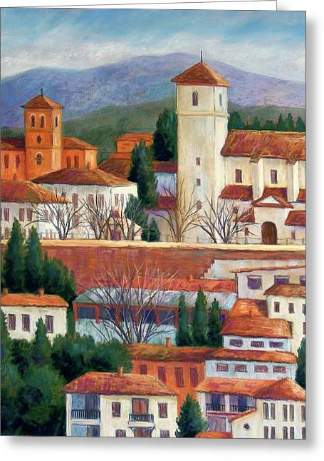 Red Buildings Pastels Greeting Cards - Granada View Greeting Card by Candy Mayer