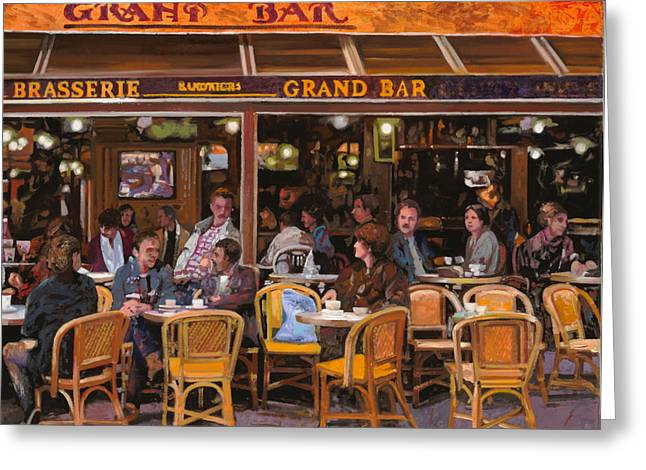 Beer Paintings Greeting Cards - Grand Bar Greeting Card by Guido Borelli