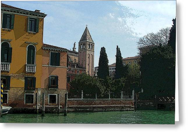 Sienna Italy Digital Art Greeting Cards - Grand Canal IV Greeting Card by Mindy Newman