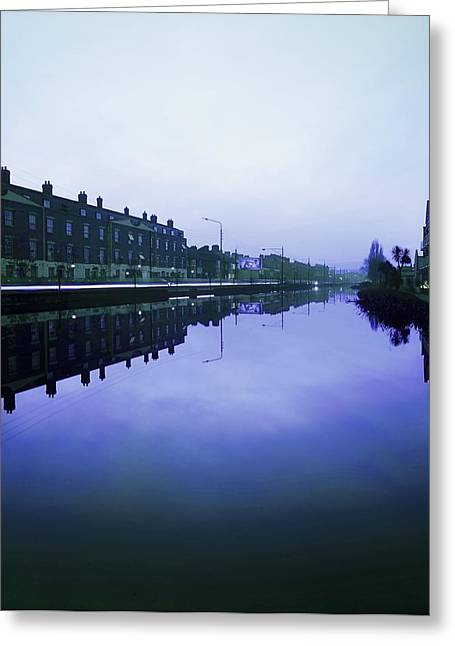 Reflections Of Sky In Water Greeting Cards - Grand Canal, Portobello, Dublin, Co Greeting Card by The Irish Image Collection