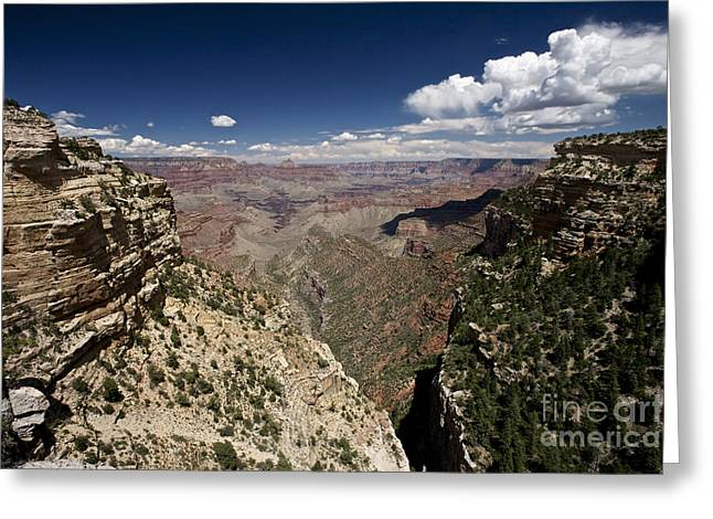 Clouds Over Canyon Greeting Cards - Grand Canyon As Seen From Pipe Creek Greeting Card by Terry Moore