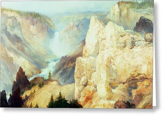 Grand Canyon of the Yellowstone Park Greeting Card by Thomas Moran