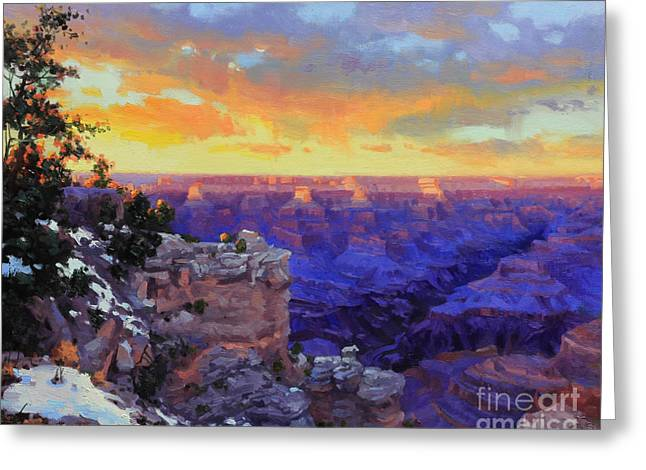 South Rim Greeting Cards - Grand Canyon Winter Sunset Greeting Card by Gary Kim