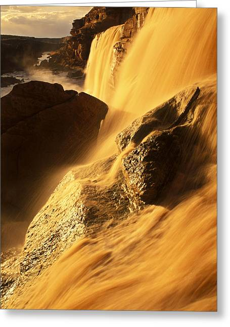 Grand Falls Of The Little Colorado Greeting Card by Ralph Lee Hopkins
