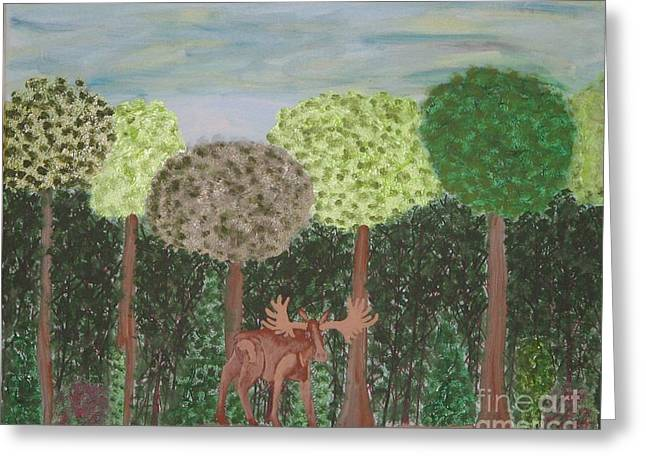 Moose Stretched Canvas Greeting Cards - Grand Father Moose Greeting Card by Gregory Davis