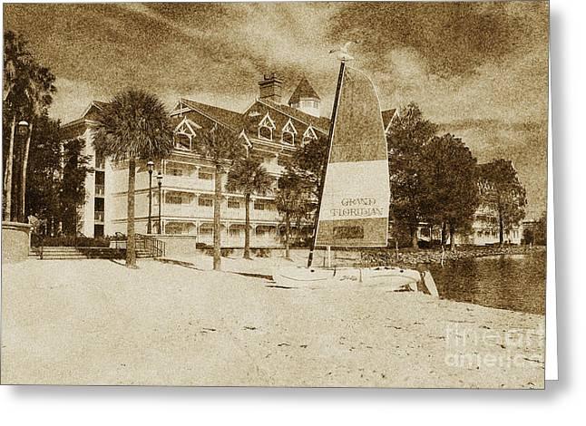 Grand Floridian Resort Beach Walt Disney World Prints Vintage Greeting Card by Shawn O'Brien