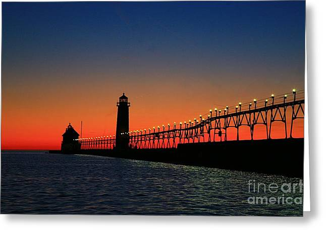 Grand Haven light house Greeting Card by Robert Pearson