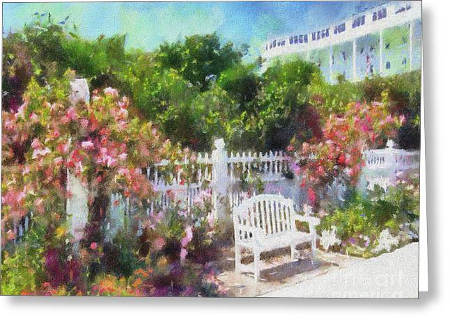 Grand Hotel Greeting Cards - Grand Hotel Gardens Mackinac Island Michigan Greeting Card by Betsy Foster Breen