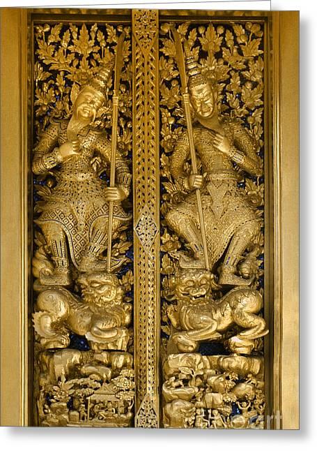 Thai Antiquities Greeting Cards - Grand Palace Doors - Bangkok Thailand Greeting Card by Craig Lovell