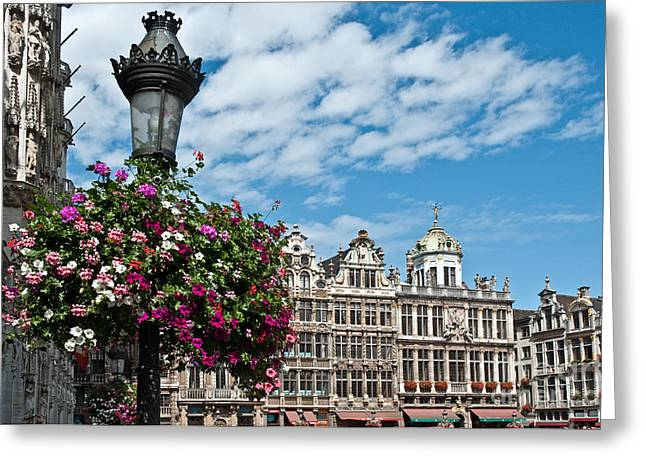 Municipality Greeting Cards - Grand Place Flowers Greeting Card by Jim Chamberlain