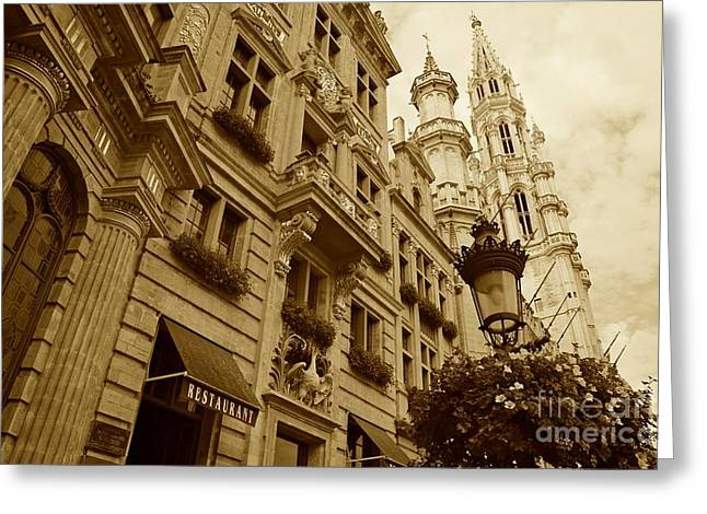 European Cafes Greeting Cards - Grand Place Perspective Greeting Card by Carol Groenen