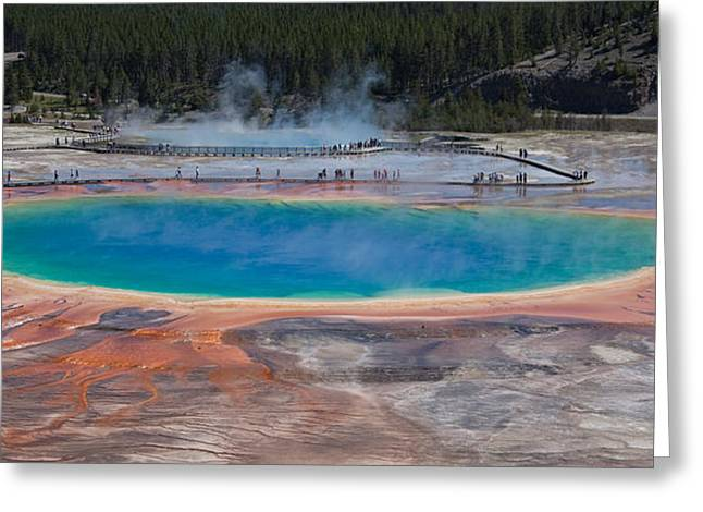 Blue Mountains Red Greeting Cards - Grand Prismatic Spring Greeting Card by Ralf Kaiser