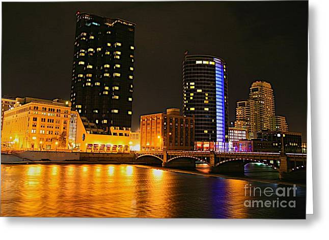 Rapids Mixed Media Greeting Cards - Grand Rapids MI under the lights-2 Greeting Card by Robert Pearson