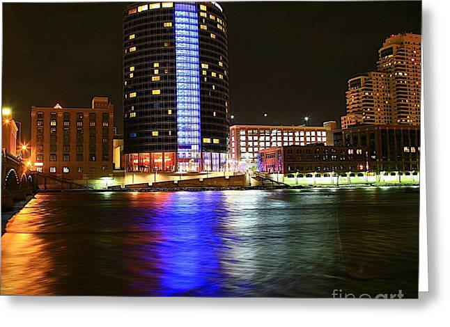 Rapids Mixed Media Greeting Cards - Grand Rapids MI under the lights-6 Greeting Card by Robert Pearson