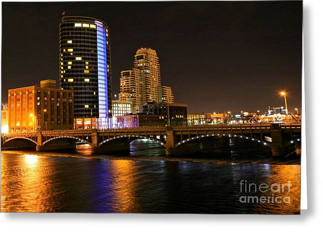 Beach Photograph Greeting Cards - Grand Rapids MI under the lights Greeting Card by Robert Pearson