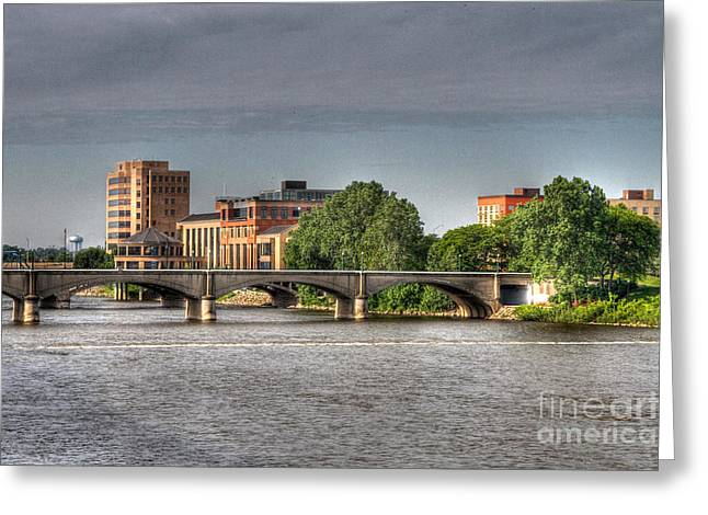 Tone Mapped Greeting Cards - Grand Rapids Mich west bank Greeting Card by Robert Pearson