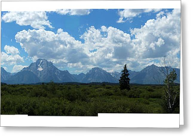 Saw Greeting Cards - Grand Teton Mountain Range Stitched Photographs Greeting Card by Adam Long