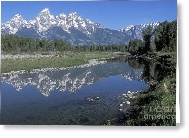 Out West Greeting Cards - Grand Teton Reflection at Schwabacher Landing Greeting Card by Sandra Bronstein