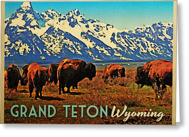 Grand Teton Wyoming Buffalo Greeting Card by Flo Karp