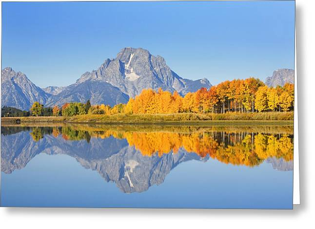 Location Art Greeting Cards - Grand Tetons in Autumn Greeting Card by Ron Dahlquist - Printscapes