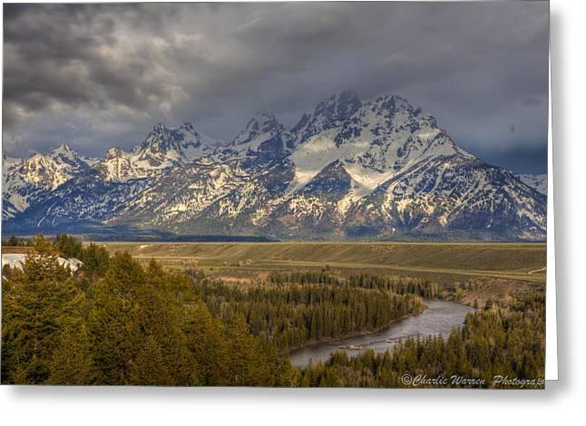 Grand Tetons Snake River Greeting Card by Charles Warren