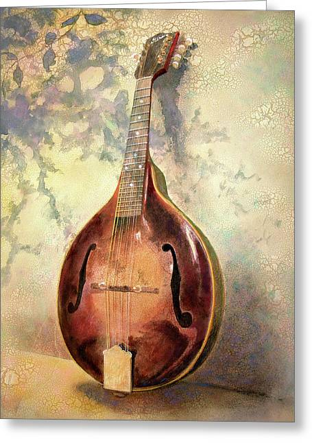 Musical Paintings Greeting Cards - Grandaddys Mandolin Greeting Card by Andrew King