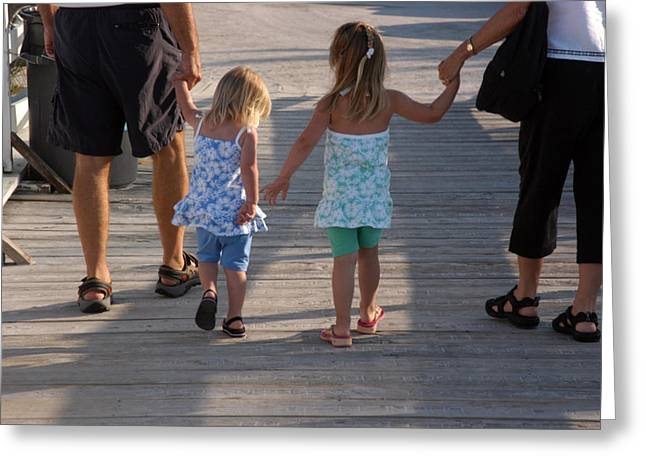 2-3 Years Greeting Cards - Grandchildren Walk Down A Wooden Pier Greeting Card by Stacy Gold