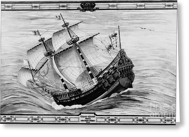 Merchant Ship Greeting Cards - Grande Hermine, French Galleon, 16th Greeting Card by Photo Researchers