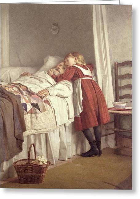 Illness Greeting Cards - Grandfathers Little Nurse Greeting Card by James Hayllar