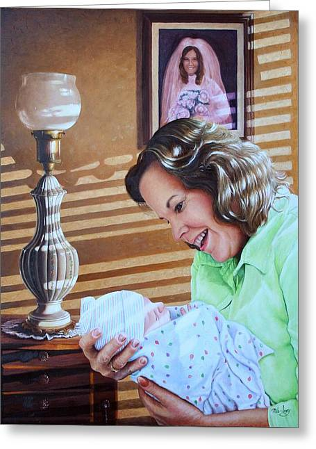 Photorealism Greeting Cards - Grandma and Granddaughter Greeting Card by Mike Ivey