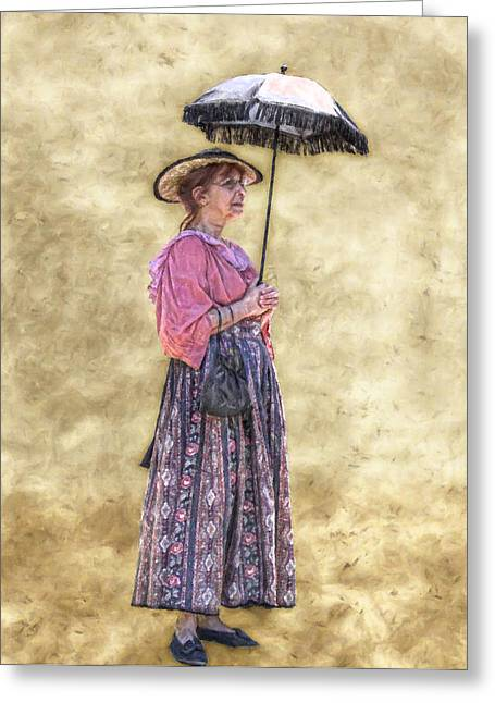 Old Dresses Greeting Cards - Grandma with Umbrella Greeting Card by Randy Steele