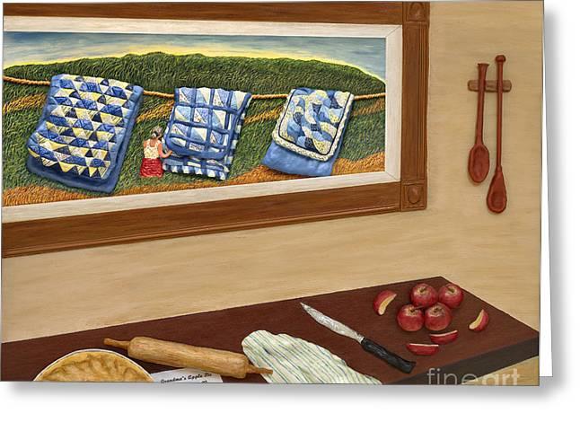 Grandma's Apple Pie Greeting Card by Anne Klar