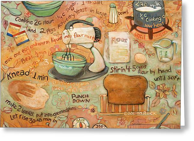 Food Art Paintings Greeting Cards - Grandmas Bread Recipe Greeting Card by Jen Norton
