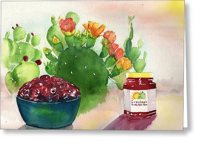 Label Greeting Cards - Grandmas Prickly Pear Jam Greeting Card by Sharon Mick