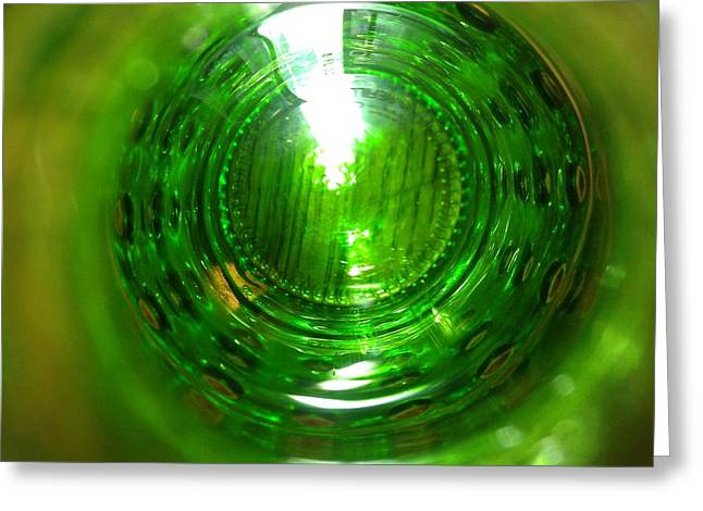 Green Abstract Glass Art Greeting Cards - Grandmas table Greeting Card by Brent Staton II